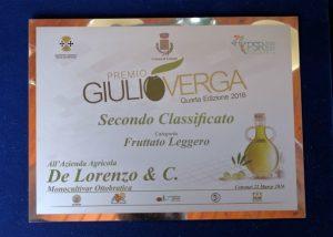Premio Verga 2016 secondo classificato monocultivar ottobratica