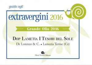 """Guida Slow Food 2016 olio extravergine """"i Tesori del Sole"""" Grande Olio"""