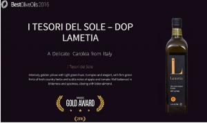 """Olio extra vergine """"i Tesori del Sole"""" Lametia Dop vincitore al nyiooc 2016"""