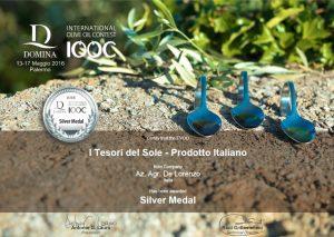 """Diooc 2016 Medaglia Argento per olio extravergine """"i Tesori del Sole"""""""