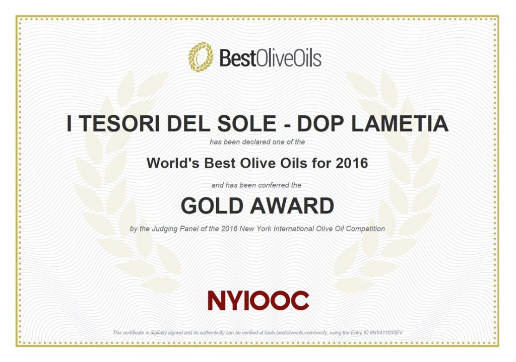 NYIOOC 2016 Gold Award Statement for i Tesori del Sole Lametia Dop