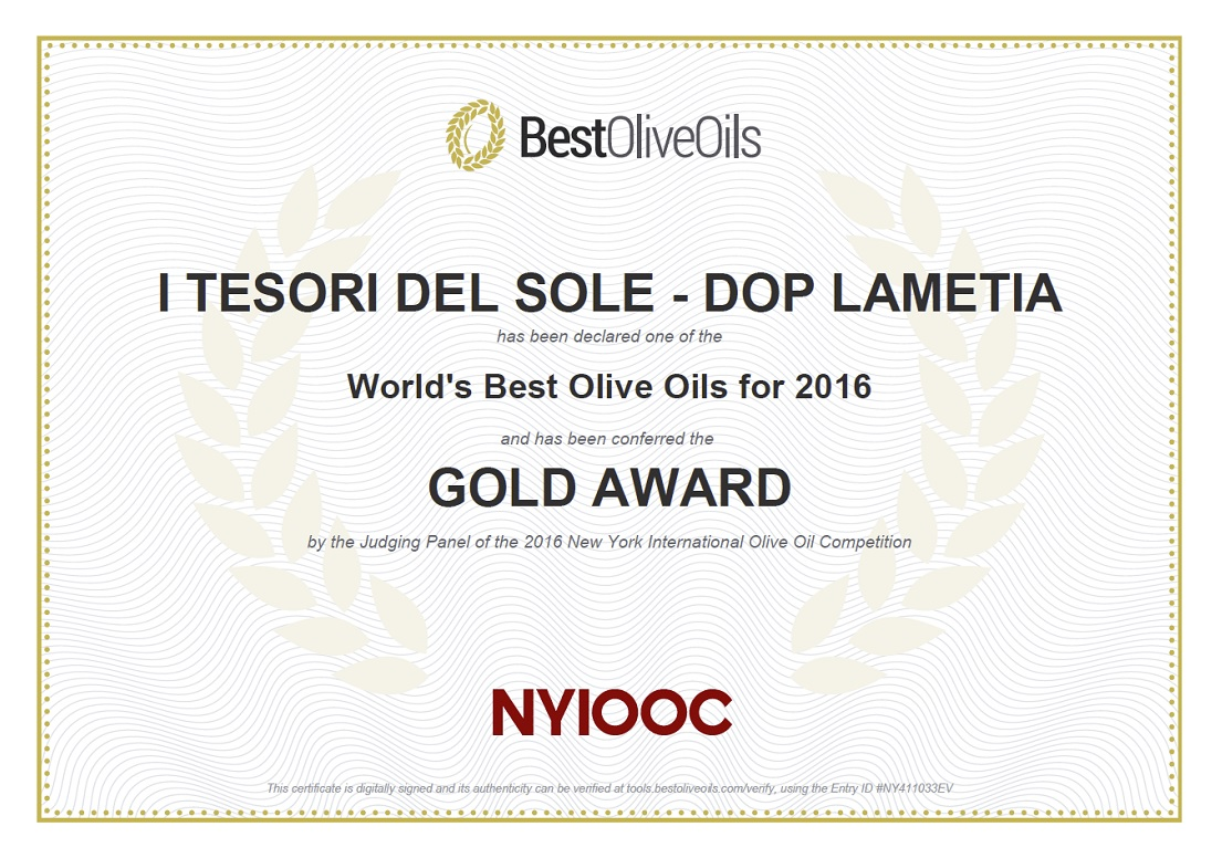 NYIOOC 2016 Gold Award i Tesori del Sole Lametia Dop