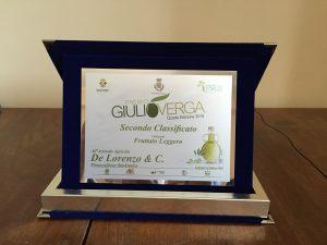 """Premio Verga 2016 secondo classificato categoria fruttato leggero olio extravergine """"i Tesori del Sole"""""""