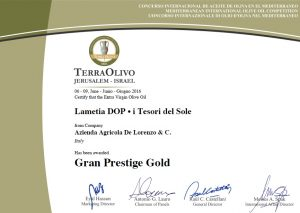 """Gran Prestige Gold per l'olio extravergine """"i Tesori Del Sole"""" al Terra Olivo 2016."""