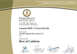 """Importante riconoscimento per l'olio extravergine """"i Tesori del Sole"""" Lametia Dop"""