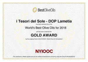 "Gold Award ""i Tesori del Sole"" Lametia Dop Nyiooc 2018"