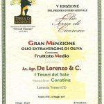 """Gran Menzione olio extravergine coratina """"i Tesori del Sole"""""""