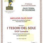 Il Lametia Dop premiato al Terre di Cicerone 2016